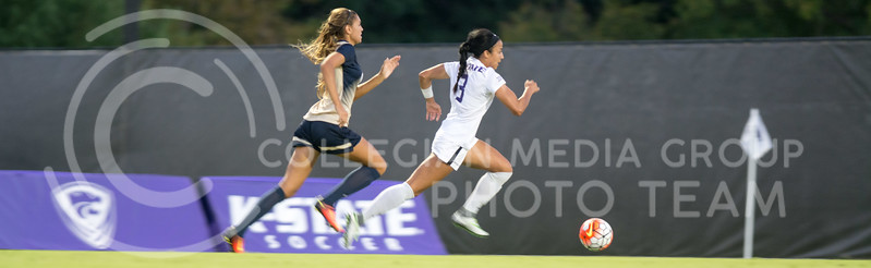 Sophomore defender Haley Sutter breaks away for a scoring attempt against Oral Roberts. The K-State Woman's Soccer team played Oral Roberts on the newly completed woman's soccer field on Sept. 23, 2016. (Austin Fuller | The Collegian)