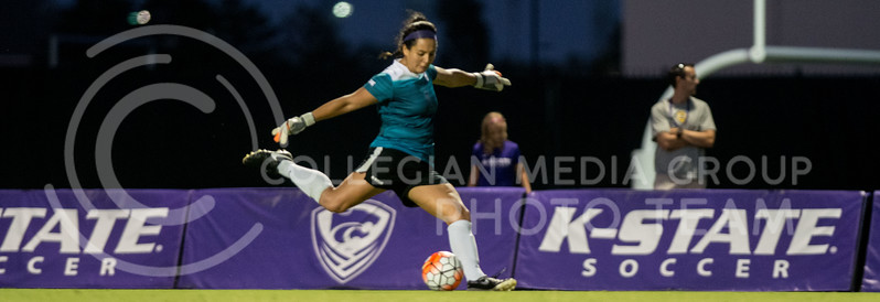 Junior goalie Miranda Larkin kicks the ball into play. The K-State Woman's Soccer team played Oral Roberts on Sept. 23, 2016. (Austin Fuller | The Collegian)