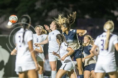 K-State and Oral Robert players attempt to gain possession of a penalty kick during the game between K-State and Oral Roberts on the newly completed woman's soccer field on Sept. 23, 2016. (Austin Fuller | The Collegian)