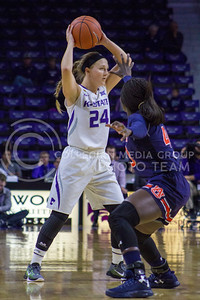 Senior guard Kindred Wesemann looks to pass the ball during the K-State game against Auburn in Bramlage Coliseum on Dec. 1, 2016. (Maddie Domnick  The Collegian)