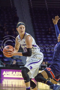 Junior guard Shaelyn Martin looks to pass the ball during the K-State game against Auburn in Bramlage Coliseum on Dec. 1, 2016. (Maddie Domnick  The Collegian)