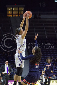 Junior forward Kaylee Page catches the ball during the K-State game against Auburn in Bramlage Coliseum on Dec. 1, 2016. (Maddie Domnick  The Collegian)