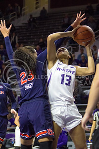 Freshman forward Eternati Willock goes for a layup during the K-State game against Auburn in Bramlage Coliseum on Dec. 1, 2016. (Maddie Domnick| The Collegian)