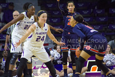 Senior guard Kindred Wesemann plays defense during the K-State game against Auburn in Bramlage Coliseum on Dec. 1, 2016. (Maddie Domnick| The Collegian)