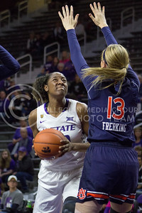 Senior center Breanna Lewis goes for a layup during the K-State game against Auburn in Bramlage Coliseum on Dec. 1, 2016. (Maddie Domnick| The Collegian)