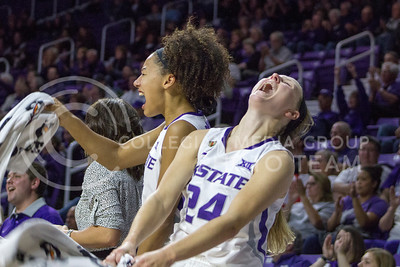 Senior guard Kindred Wesemann and freshman guard Mercedes Brooks cheer at the K-State game against Chicago State in Bramlage Coliseum on Nov. 11, 2016. (Maddie Domnick   The Collegian)