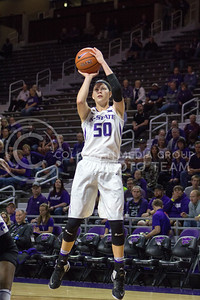 Junior guard Shaelyn Martin shoots the ball at the K-State game against Chicago State in Bramlage Coliseum on Nov. 11, 2016. (Maddie Domnick   The Collegian)