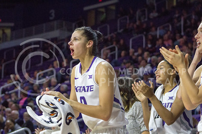 Senior forward Jessica Sheble cheers at the K-State game against Chicago State in Bramlage Coliseum on Nov. 11, 2016. (Maddie Domnick   The Collegian)