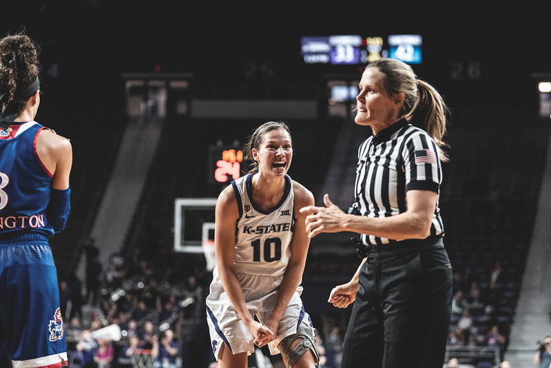 K-State guard Kayla Goth yells at the referee after a controversial call during the game against KU. The Wildcats lost to the Jayhawks 61-54 in Bramlage Coliseum on January 13, 2019. (Alex Todd | Collegian Media Group)