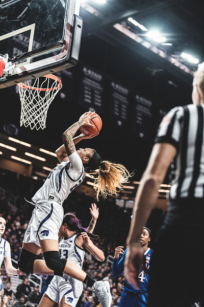 In the last few minutes of the game, K-State forward Jasauen Beard scores two points for the Wildcats. K-State lost to KU 61-54 in Bramlage Coliseum on January 13, 2019. (Alex Todd | Collegian Media Group)