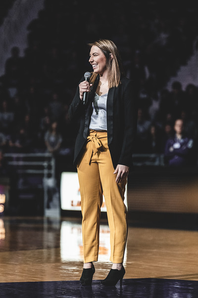 Former All-American guard Brittany Chambers speaks during her jersey retirement ceremony at the halftime of the game against KU on January 13, 2019. (Alex Todd | Collegian Media Group)