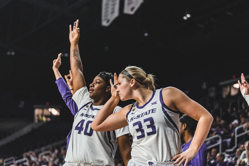 Bullseye! The team celebrates after scoring a goal during the game against North Texas on November 16, 2018. K-State won 60-42 in Bramlage Coliseum. (Alex Todd | Collegian Media Group)