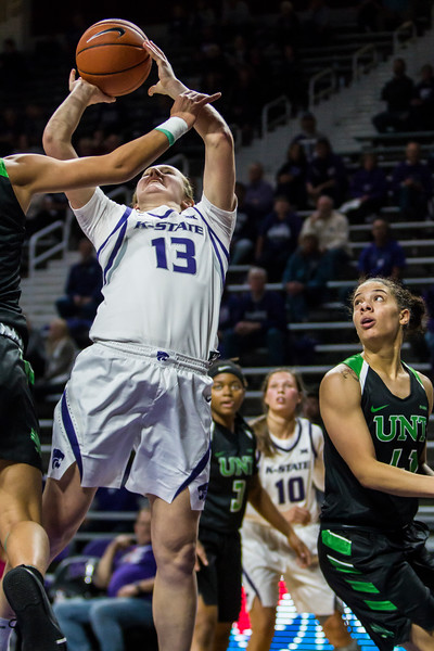 Freshman forward Laura Macke jumps up for a shot during K-State's women's basketball game against North Texas in Bramlage Coliseum on Nov. 16, 2018. The Wildcats defeated the Mean Green 60-42. (Logan Wassall | Collegian Media Group)
