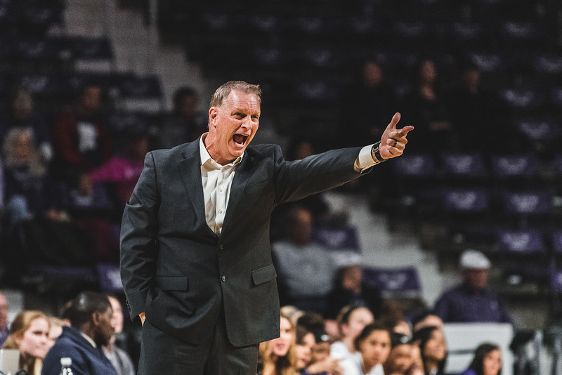 After a controversial call, K-State head coach Jeff Mittie yells instructions to the team. K-State beat North Texas 60-42 in Bramlage Coliseum on November 16, 2018. (Alex Todd | Collegian Media Group)