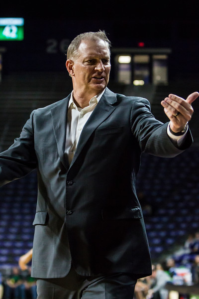 K-State women's basketball head coach Jeff Mittie coaches during their game against North Texas in Bramlage Coliseum on Nov. 16, 2018. The Wildcats defeated the Mean Green 60-42. (Logan Wassall | Collegian Media Group)