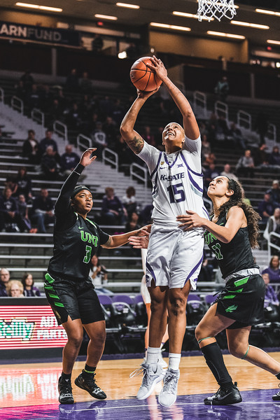 K-State senior Kali Jones goes up to score against North Texas during the game on November 16, 2018. K-State beat the Mean Green 60-42 in Bramlage Coliseum. (Alex Todd | Collegian Media Group)