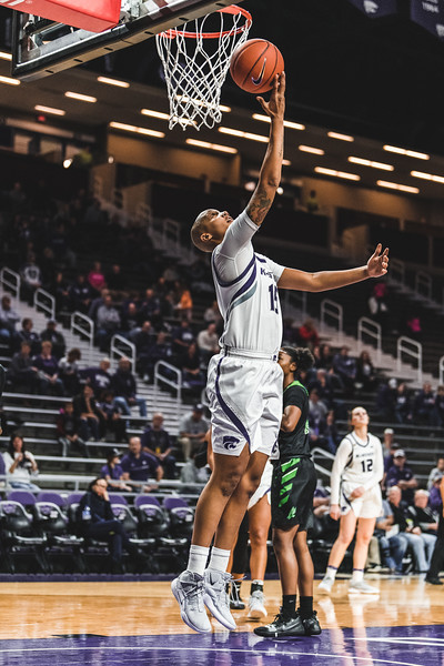 K-State's Kali Jones goes in for a layup during Friday nights game against North Texas. K-State won 60-42 in Bramlage Coliseum on November 16, 2018. (Alex Todd | Collegian Media Group)