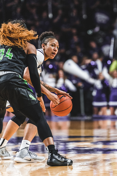 Peeking around the North Texas defense, Jasauen Beard looks for an open teammate to pass to. K-State defeated the Mean Green 60-42 in Bramlage Coliseum on November 16, 2018. (Alex Todd | Collegian Media Group)