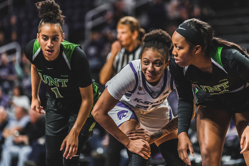 K-State junior Jasauen Beard smiles to a teammate during a free throw. K-State beat the North Texas Mean Green 60-42 in Bramlage Coliseum on November 16, 2018. (Alex Todd | Collegian Media Group)