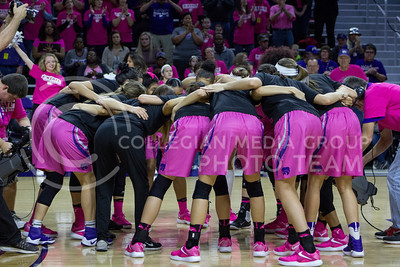 The team huddles during the K-State game against Oklahoma State in Bramlage Coliseum on Jan. 28, 2017. (Maddie Domnick | The Collegian)