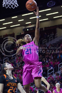 Junior guard Karyla Middlebrook goes for a layup during the K-State game against Oklahoma State in Bramlage Coliseum on Jan. 28, 2017. (Maddie Domnick | The Collegian)