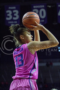 Freshman forward Eternati Willock shoots the ball during the K-State game against Oklahoma State in Bramlage Coliseum on Jan. 28, 2017. (Maddie Domnick | The Collegian)