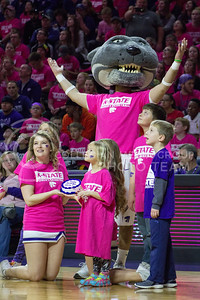 Willie the Wildcat accepts a birthday cake during the K-State game against Oklahoma State in Bramlage Coliseum on Jan. 28, 2017. (Maddie Domnick | The Collegian)