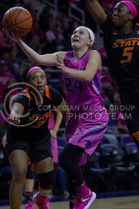 Senior guard, Kindred Wesemann goes up to the basket during the K-State game against Oklahoma State in Bramlage Coliseum on Jan. 28 2017. (Sabrina Cline | The Collegian)