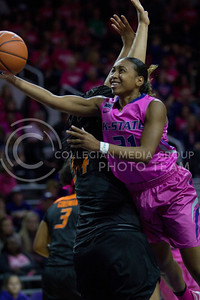 Junior guard, Karyla Middlebrook goes up for the shot during the K-State game against Oklahoma State in Bramlage Coliseum on Jan. 28 2017. (Sabrina Cline | The Collegian)