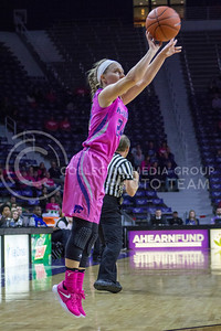 Senior guard Kindred Wesemann shoots the ball during the K-State game against Oklahoma State in Bramlage Coliseum on Jan. 28, 2017. (Maddie Domnick | The Collegian)