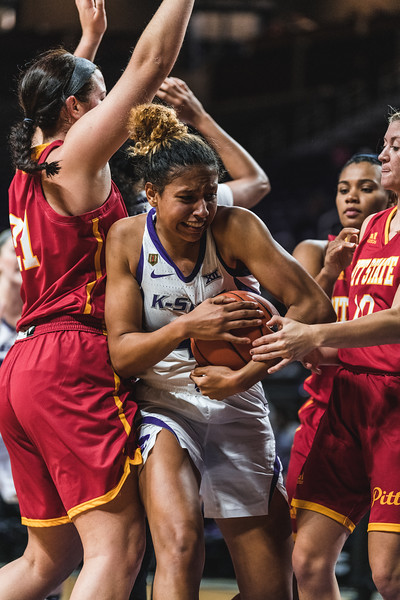 K-State guard Christianna Carr works to defend the ball from Pittsburg State after catching a rebound. The K-State Wildcats beat the Gorillas 65-50 on November 5, 2018 in Bramlage Coliseum. (Alex Todd | Collegian Media Group)
