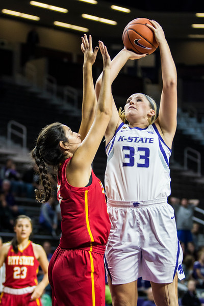Sophomore center Ashley Ray jumps up for a shot during the K-State's women's basketball game against Pittsburg State in Bramlage Coliseum on Nov. 5, 2018. The Wildcats took the Gorillas 65-50. (Logan Wassall | Collegian Media Group)