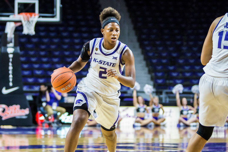 Sophomore guard Cymone Goodrich drives the basket during K-State's women's basketball game against Pittsburg State in Bramlage Coliseum on Nov. 5, 2018. The Wildcats took the Gorillas 65-50. (Logan Wassall | Collegian Media Group)