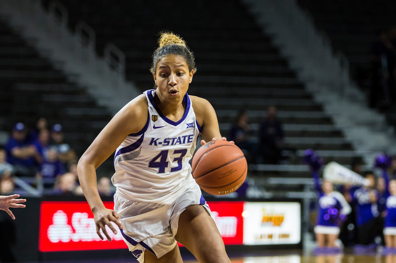 Freshman guard Christinna Carr drives the basket during K-State's women's basketball game against Pittsburg State in Bramlage Coliseum on Nov. 5, 2018. The Wildcats took the Gorillas 65-50. (Logan Wassall | Collegian Media Group)