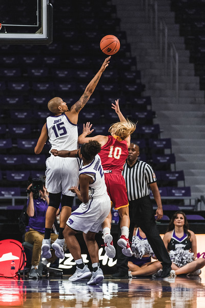 """K-State's 6'2"""" forward Kali Jones leaps over Pittsburg State's Tristan Gegg to block her shot during the game in Bramlage Coliseum on November 5, 2018. The Wildcats beat the Gorillas 65-50. (Alex Todd 
