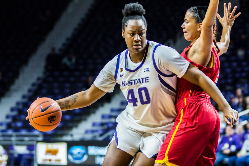 Sophomore center Maary Lakes charges the basket during K-State's women's basketball game against Pittsburg State in Bramlage Coliseum on Nov. 5, 2018. The Wildcats took the Gorillas 65-50. (Logan Wassall | Collegian Media Group)