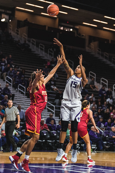 Shooting over the Pittsburg State defense, K-State's Kali Jones scores two points during the November 5 game in Bramlage Coliseum. K-State won 65-50. (Alex Todd | Collegian Media Group)