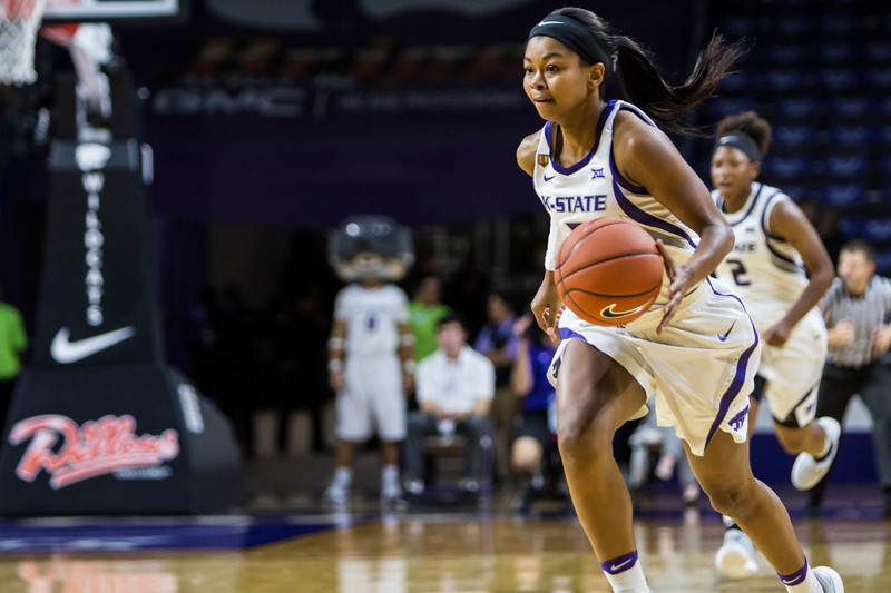 Sophomore guard Alisa Wiggins dribbles downcourt during the K-State's women's basketball game against Pittsburg State in Bramlage Coliseum on Nov. 5, 2018. The Wildcats took the Gorillas 65-50. (Logan Wassall | Collegian Media Group)