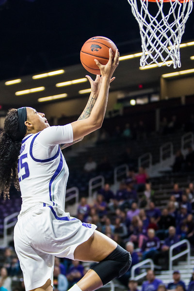 Junior forward Jasauen Beard goes up for a layup in K-State's women's basketball game against Pittsburg State in Bramlage Coliseum on Nov. 5, 2018. The Wildcats took the Gorillas 65-50. (Logan Wassall | Collegian Media Group)