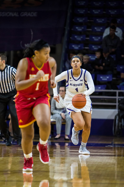 Freshman guard Savannah Simmons takes the ball downcourt during K-State's women's basketball game against Pittsburg State in Bramlage Coliseum on Nov. 5, 2018. The Wildcats took the Gorillas 65-50. (Logan Wassall | Collegian Media Group)