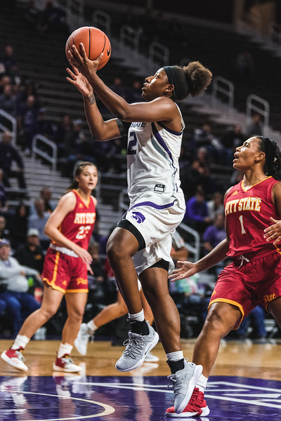 K-State sophomore Cymone Goodrich flies past the Pittsburg State defense for a layup. Goodrich helped the Wildcats defeat the Gorillas with 8 points during the game in Bramlage Coliseum on November 5, 2018. (Alex Todd | Collegian Media Group)