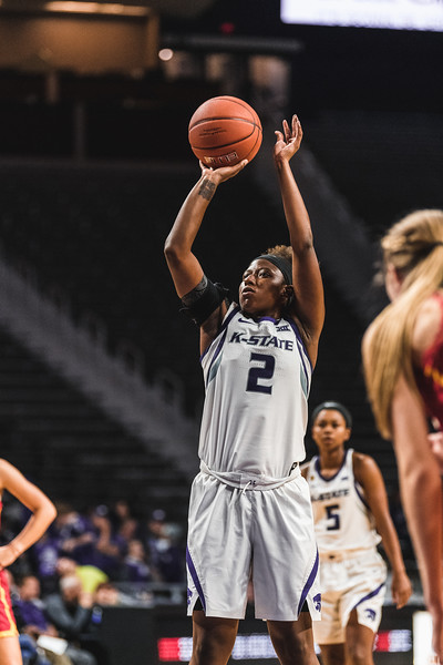 K-State's Cymone Goodrich shoots a free-throw during the basketball game on November 5, 2018. K-State beat Pittsburg State 65-50. (Alex Todd | Collegian Media Group)