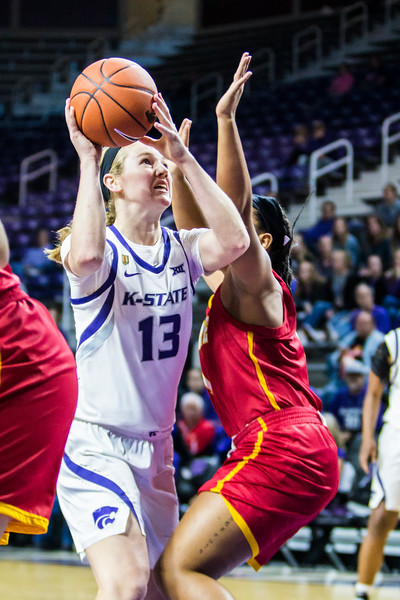Freshman forward Laura Macke goes up for a layup in K-State's women's basketball game against Pittsburg State in Bramlage Coliseum on Nov. 5, 2018. The Wildcats took the Gorillas 65-50. (Logan Wassall | Collegian Media Group)