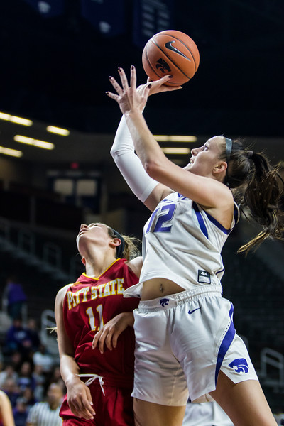 Sophomore guard Rachel Ranke goes up for a layup during K-State's women's basketball game against Pittsburg State in Bramlage Coliseum on Nov. 5, 2018. The Wildcats took the Gorillas 65-50. (Logan Wassall | Collegian Media Group)