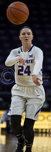 Senior guard Kindred Wesemann passes the ball to a teammate during the K-State game against TCU in Bramlage Coliseum on Jan. 18, 2017. (Nathan Jones   The Collegian)