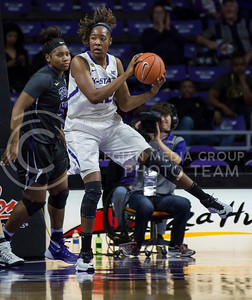 Senior center Breanna Lewis rebounds the bal during the K-State game against TCU in Bramlage Coliseum on Jan. 18, 2017. (Nathan Jones | The Collegian)