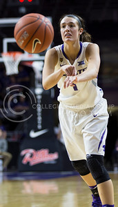 Junior forward Kaylee Page passes the ball to a teammate during the K-State game against TCU in Bramlage Coliseum on Jan. 18, 2017. (Nathan Jones   The Collegian)