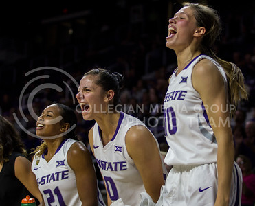 Players on the bench cheer on their teammates after a basket during the K-State game against Tulsa in Bramlage Coliseum on Nov. 11, 2016. (Sabrina Cline | The Collegian)