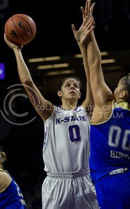 Jessica Sheble, senior forward, posts up and goes up for the shot during the K-State game against Tulsa in Bramlage Coliseum on Nov. 11, 2016. (Sabrina Cline | The Collegian)