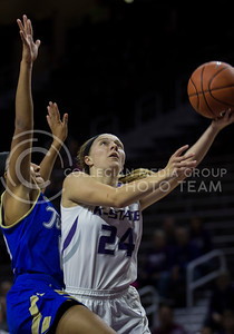 Kindred Wesemann, senior guard, goes up for the shot during the K-State game against Tulsa in Bramlage Coliseum on Nov. 14, 2016. (Sabrina Cline | The Collegian)